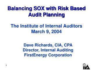 Balancing SOX with Risk Based Audit Planning