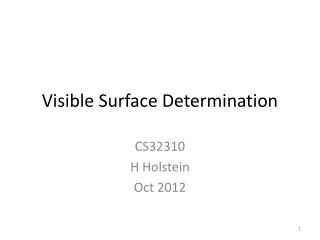 Visible Surface Determination