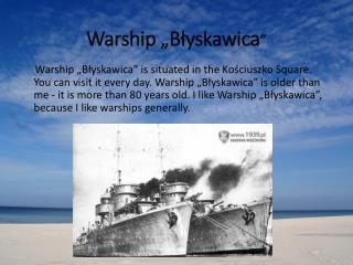 """Warship """"Błyskawica """""""