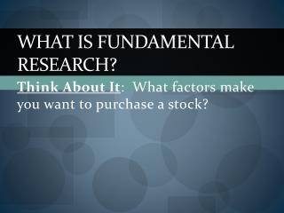What is Fundamental Research?