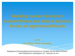 Modeling Human Decisions in Coupled Human and Natural Systems: Review of Agent-Based Models