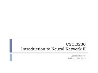 CSCI3230 Introduction to Neural Network II