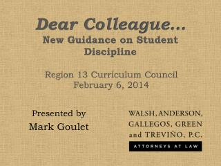 Dear Colleague… New Guidance on Student Discipline
