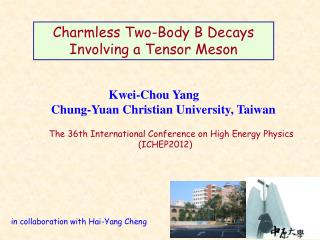 Charmless Two -Body  B  Decays  Involving a Tensor Meson