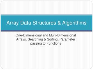 Array Data Structures & Algorithms