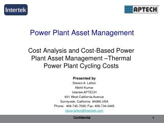 Power Plant Asset Management