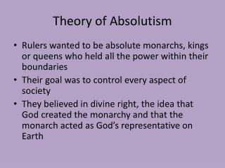 Theory of Absolutism