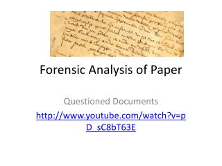 Forensic Analysis of Paper