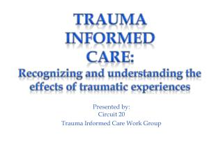 Presented by: Circuit 20  Trauma Informed Care Work Group