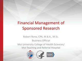 Financial Management of  Sponsored Research
