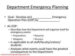 Department Emergency Planning