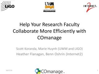 Help Your Research Faculty Collaborate More Efficiently with  COmanage