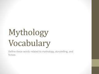 Mythology Vocabulary