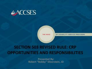 SECTION 503 REVISED RULE: CRP OPPORTUNITIES AND RESPONSIBILITIES