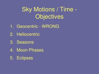 Sky Motions / Time - Objectives