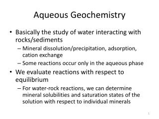 Aqueous Geochemistry
