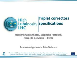 Triplet correctors specifications