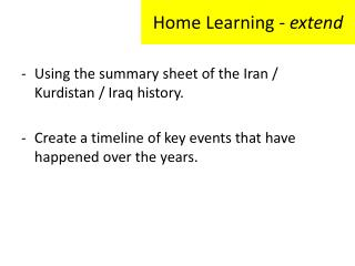Home Learning -  extend