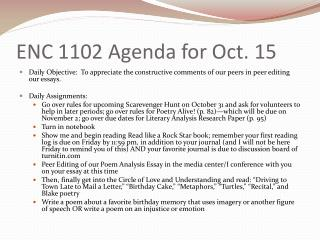 ENC 1102 Agenda for Oct. 15