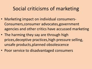 Social criticisms of marketing