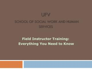 UFV School of Social Work and Human Services