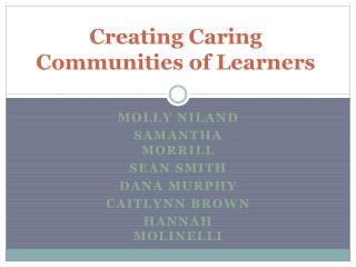 Creating Caring Communities of Learners