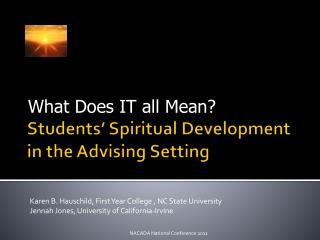 Students' Spiritual Development in the Advising Setting