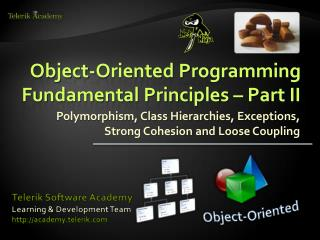Object-Oriented Programming Fundamental Principles – Part  II