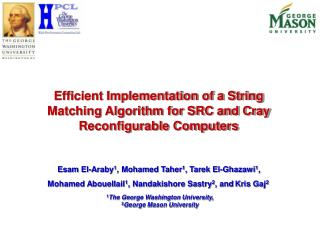 Efficient Implementation of a String  Matching Algorithm for SRC and Cray Reconfigurable Computers