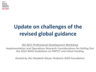 Update  on challenges of the revised global guidance