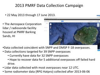 2013 PMRF Data Collection Campaign