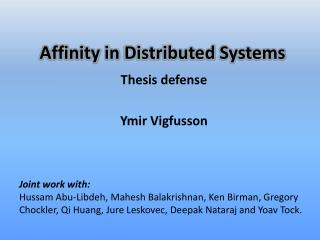 Affinity  in  Distributed  Systems