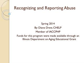 Recognizing and Reporting Abuse