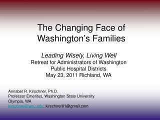 The Changing Face of  Washington ' s Families