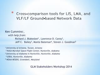 Cross-comparison tools for LIS, LMA, and VLF/LF  G round-based  N etwork  D ata