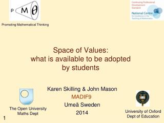 Space of Values: what is available to be adopted by students