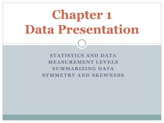 Chapter 1  Data Presentation