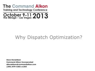 Why Dispatch Optimization?