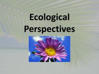 Ecological Perspectives