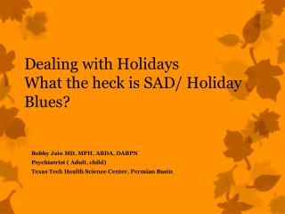 Dealing with Holidays What the  h eck is SAD/ Holiday Blues?