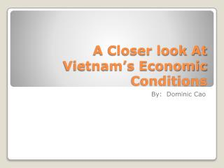 A Closer look At Vietnam's Economic Conditions