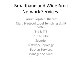 Broadband and Wide Area Network Services