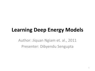Learning Deep Energy Models