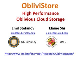 ObliviStore High  Performance Oblivious Cloud Storage