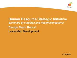 Human Resource Strategic Initiative Summary of Findings and Recommendations