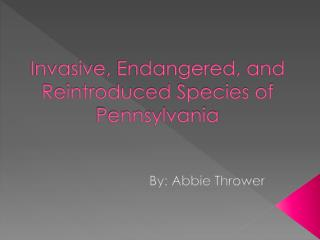 Invasive, Endangered, and Reintroduced Species of Pennsylvania
