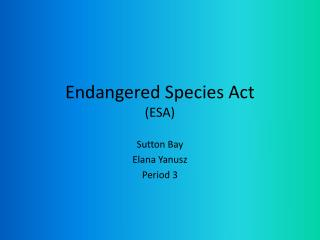 Endangered Species Act (ESA)