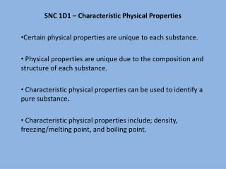SNC 1D1 – Characteristic Physical Properties