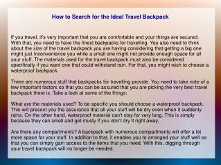 How to Search for the Ideal Travel Backpack