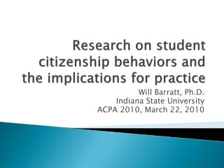 Research on student citizenship behaviors and the implications for practice